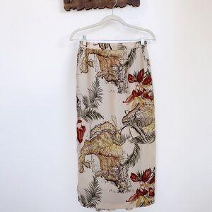 Vintage | Continent Globe Midi Straight Skirt